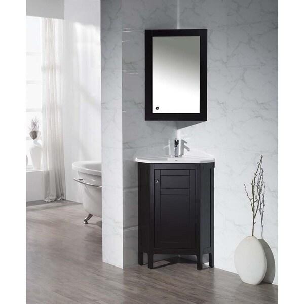 Stufurhome Clarkson Espresso 24.25 Inch Corner Bathroom Vanity with Medicine Cabinet