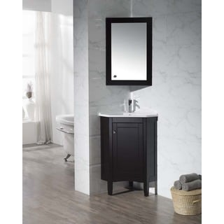 Stufurhome Monte Espresso 25-inch Corner Bathroom Vanity with Mirrored Medicine Cabinet
