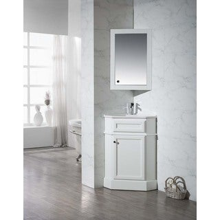 Stufurhome Hampton White 26.5 Inch Corner Bathroom Vanity with Medicine Cabinet