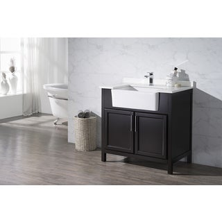 Stufurhome Tyron Espresso 36 Inch Farmhouse Apron Single Sink Bathroom Vanity