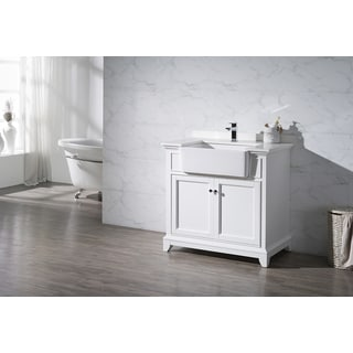Stufurhome Helanah White 36 Inch Farmhouse Apron Single Sink Bathroom Vanity