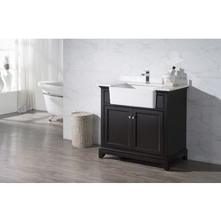 Stufurhome Helanah Espresso 36 Inch Farmhouse Apron Single Sink Bathroom Vanity