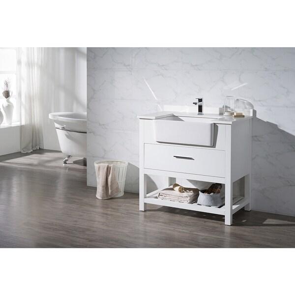 Stufurhome Nightingale White 36 Inch Farmhouse Apron Single Sink Bathroom Van