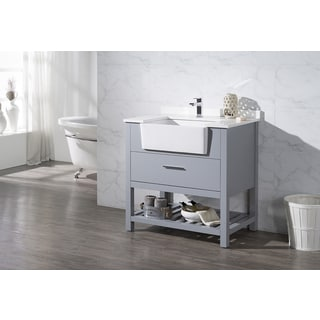 Stufurhome Nightingale Grey 36 Inch Farmhouse Apron Single Sink Bathroom Vanity