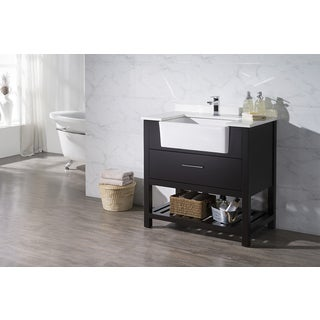 Stufurhome Nightingale Espresso 36 Inch Farmhouse Apron Single Sink Bathroom Vanity