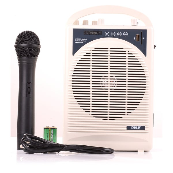Pyle PWMA120BM Portable Bluetooth PA Speaker and Mic System with Handheld Mic and Rechargeable Battery