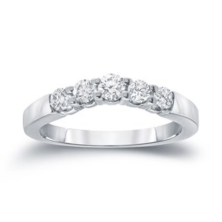 Auriya 14k White Gold 3/5ct TDW Round-Cut Diamond Wedding Band (I-J, SI1-SI2)