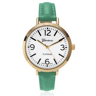 Geneva Platinum Women's Colored Slender Leather Strap Watch