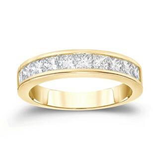 Auriya 14k Gold 1ct TDW Princess Cut Diamond Channel Wedding Band (H-I, VS1-VS2)