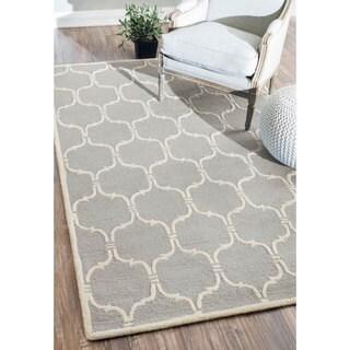 nuLOOM Handmade Modern Trellis Wool Grey Rug (8'6 x 11'6)