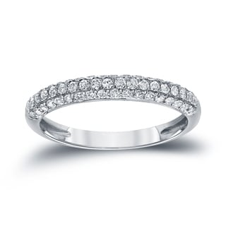 Auriya 14k White Gold 1/2ct TDW Round Cut Diamond Wedding Band (H-I, I1-I2)