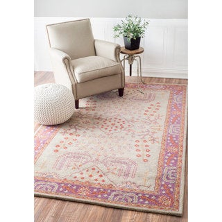 nuLOOM Handmade Persian New Zealand Wool Purple Rug (8'6 x 11'6)