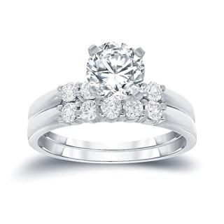 Auriya 14k Gold 1ct TDW Round Cut Diamond Bridal Ring Set (H-I, SI2-SI3)