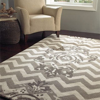 nuLOOM Handmade Floral Chevron Wool Taupe Rug (8'6 x 11'6)
