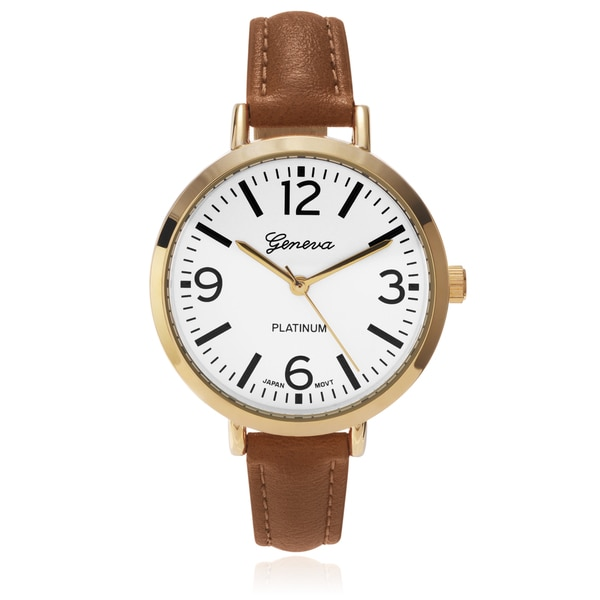 Geneva Platinum Women's Colored Slender Leather Strap Watch