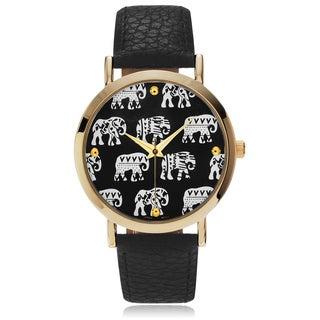 Geneva Platinum Women's Elephant Pattern Dial Leather Strap Watch