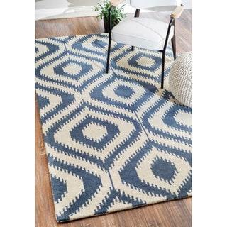 nuLOOM Handmade Ikat Trellis Wool Blue Rug (8'6 x 11'6)