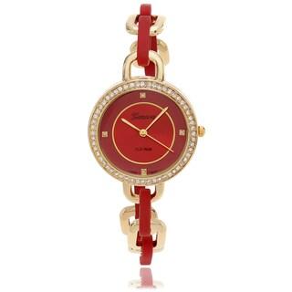 Geneva Platinum Women's Rhinestone Accent Color Dial Bracelet Watch