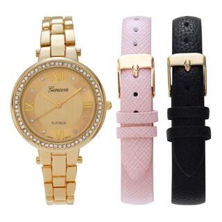 Geneva Platinum Women's Rhinestone Accent Interchangeable Strap Watch Set
