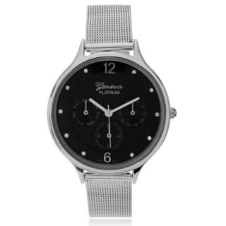 Geneva Platinum Women's Rhinestone Accent Mesh Strap Watch