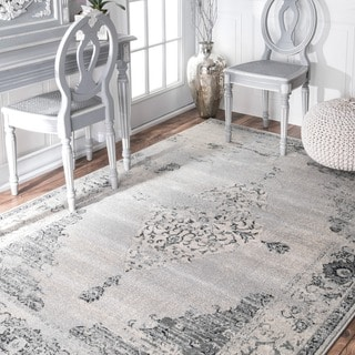 nuLOOM Traditional Abstract Vintage Light Grey Rug (9' x 12')
