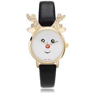 Geneva Platinum Women's Rhinestone Accent Reindeer Face Leather Strap Watch