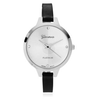 Geneva Platinum Women's Rhinestone Accent Skinny Leather Strap Watch