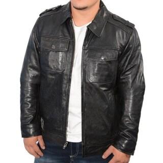 Men's Black Leather Antique Silver Zipper Jumble Jacket