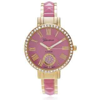 Geneva Platinum Women's Rhinestone Accent Two-tone Adjustable Cuff Watch