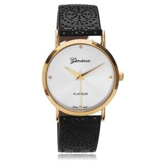 Geneva Platinum Women's Two-tone Pattern Leather Strap Watch