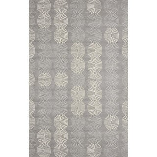 nuLOOM Handmade Linked Circles Wool Grey Rug (8'6 x 11'6)