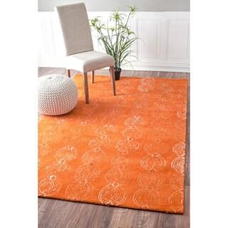 nuLOOM Handmade Linked Circles Wool Orange Rug (8'6 x 11'6)