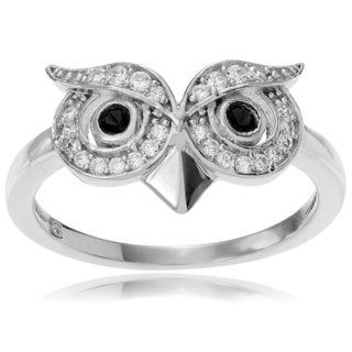 Journee Collection Sterling Silver Cubic Zirconia Accent Owl Head Ring
