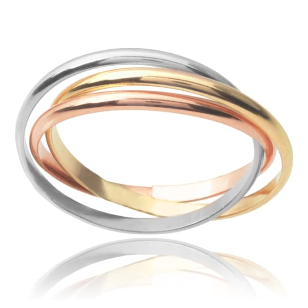 Journee Collection Sterling Silver Three-tone Rolling Trio Ring