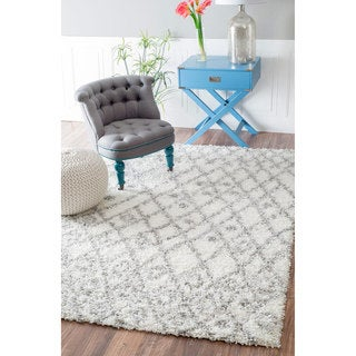 nuLOOM Soft and Plush Netted Lattice Shag White Rug (8' x 10')