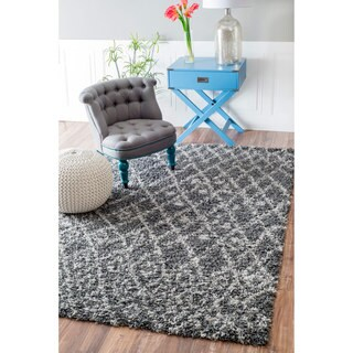 nuLOOM Soft and Plush Netted Lattice Shag Grey Rug (8' x 10')