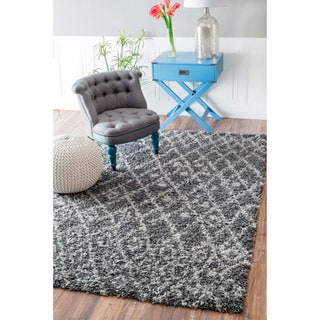 nuLOOM Soft and Plush Netted Lattice Shag Grey Rug (9'2 x 12')