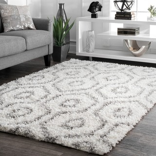 nuLOOM Soft and Plush Keyhole Trellis Shag White Rug (8' x 10')