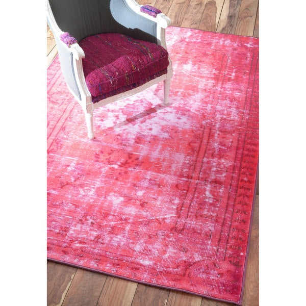 Nuloom Vintage Inspired Turquoise Overdyed Rug: NuLOOM Vintage Inspired Adileh Overdyed Pink Rug (9'2 X 12