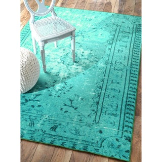 nuLOOM Vintage Inspired Adileh Overdyed Turquoise Rug (9'2 x 12'5)