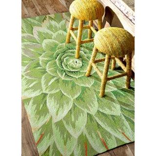 nuLOOM Handmade Bold Floral Indoor/ Outdoor Green Rug (8'6 x 11'6)