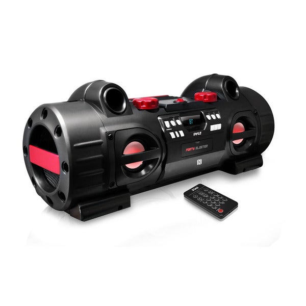 Pyle PBMSPG80 Party Blaster Boom Box with NFC Bluetooth/ USB/ SD/ MP3/ FM Radio/ Aux/ CD Player and Party Lights