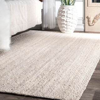 nuLOOM Handmade Eco Natural Fiber Braided Reversible Jute White Rug (6' x 9')