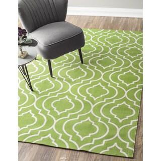 nuLOOM Flatweave Modern Geometric Printed Trellis Cotton Green Rug (8' x 10')