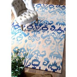 nuLOOM Handmade Ikat Lanterns Blue Rug (9' x 12')