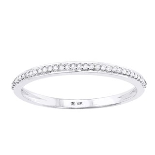 Beverly Hills Charm 10K Gold 1/10ct TDW Diamond Anniversary Stackable Band Ring (H-I, I2-I3)