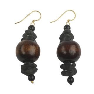 Handcrafted Sese Wood 'Dzidudu in Dark Brown' Earrings (Ghana)