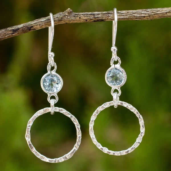 Sterling Silver 'Minimalist Circle Textures' Topaz Earrings (Thailand)