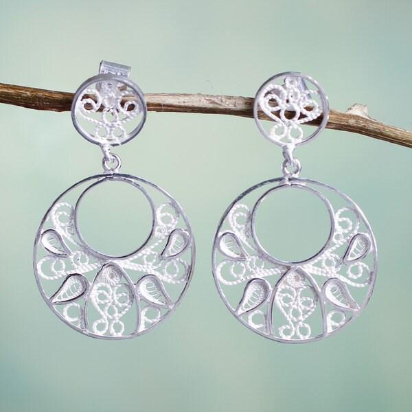 Handmade Sterling Silver 'Tunan Moon' Filigree Earrings (Peru) 16288298