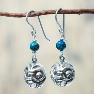 Handcrafted Sterling Silver 'Twin Andean Owls' Azurite Earrings (Peru)